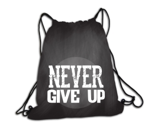 Never give up- plecak
